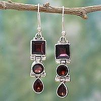 Garnet dangle earrings, 'Radiant Glamour' - Geometric Garnet and Sterling Silver Dangle Earrings