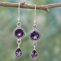 Amethyst dangle earrings, 'Lilac Droplets' - Faceted Amethyst and Sterling Silver Dangle Earrings