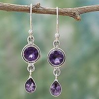 Amethyst dangle earrings, 'Lilac Droplets' - Faceted Amethyst and Sterling Silver Dangle Earrings