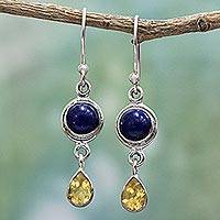Lapis lazuli and citrine dangle earrings, 'Drops of Sun' - Lapis Lazuli and Citrine Sterling Silver Dangle Earrings