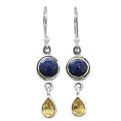 Lapis Lazuli and Citrine Sterling Silver Dangle Earrings