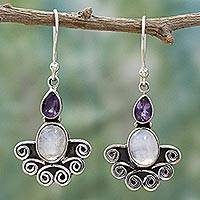 Rainbow moonstone and amethyst dangle earrings, 'Joyful Alliance' - Rainbow Moonstone and Amethyst Sterling Silver Earrings
