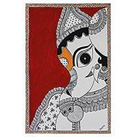 Madhubani painting, 'Ganesha Bala Ganapathi' - Madhubani Folk Art Painting of Ganesha NOVICA India