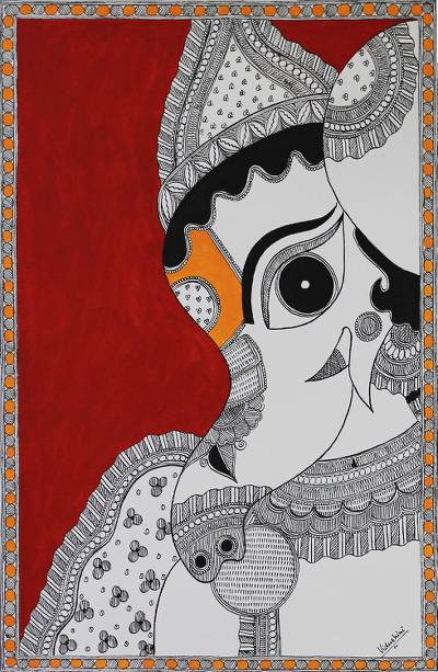 Madhubani Folk Art Painting of Ganesha NOVICA India