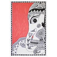 Madhubani painting, 'Magnificent Ganesha' - Ganesha Madhubani Folk Art Painting from India