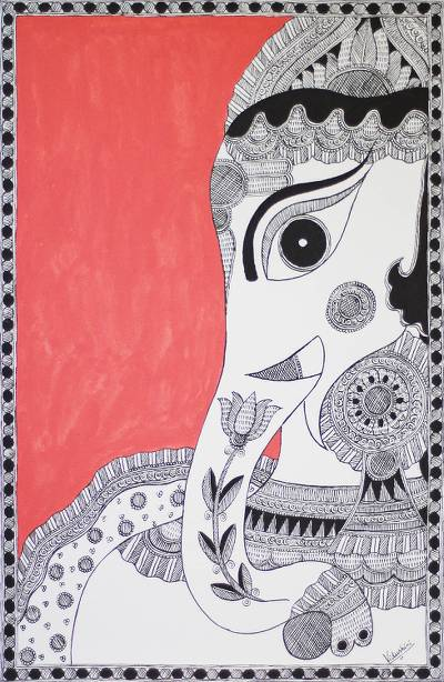 Ganesha Madhubani Folk Art Painting from India