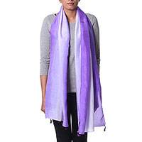 Silk scarf, 'Purple Beauty' - Tie Dye 100% Silk Scarf in Violet and Pale Grey from India