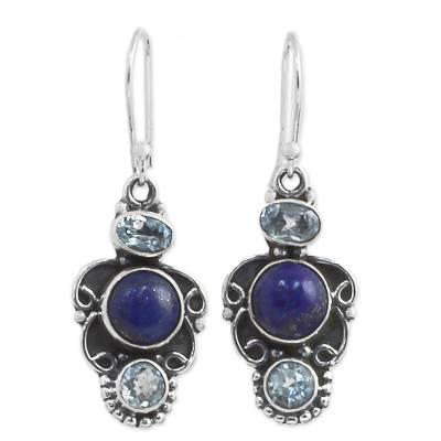 Sterling Silver Earrings with Blue Topaz and Lapis Lazuli