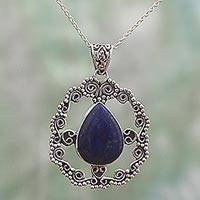 Lapis lazuli pendant necklace, 'Royal Swirls' - Sterling Silver Pendant Necklace with Lapis Lazuli Gemstone