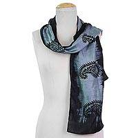 Silk scarf, 'Paisley Fascination in Smoke' - Hand Woven Grey Silk Scarf Paisley Motifs from India