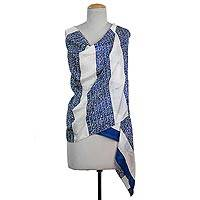 Silk shawl, 'Ancient Script in Royal Blue' - Hand Woven Blue and White Printed Silk Shawl from India
