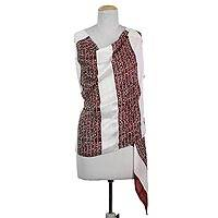 Silk shawl, 'Ancient Script in Cherry' - Hand Woven Ecru Cherry Silk Shawl from India
