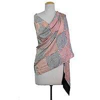 Silk shawl, 'Circle of Life in Crimson' - Hand Woven Black Crimson White Silk Shawl Spiral from India