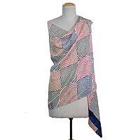 Silk shawl, 'Circle of Life in Fuchsia' - Hand Woven Black Blue White Silk Shawl Spiral from India