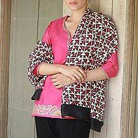 Silk shawl, 'Triangle Attraction in Fuchsia' - Hand Woven Fuchsia Ivory Geometric Silk Shawl from India