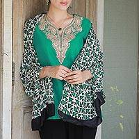 Silk shawl, 'Triangle Attraction in Emerald' - Hand Woven Emerald Ivory Geometric Silk Shawl from India