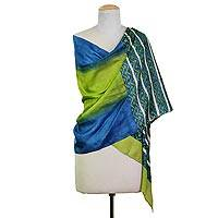 Silk shawl, 'Bengali Festival in Olive' - Hand Woven Green Blue Geometric Silk Shawl from India