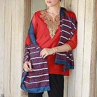 Silk shawl, 'Bengali Festival in Cinnabar' - Hand Woven Cinnabar Azure Geometric Silk Shawl from India