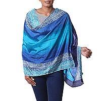 Silk shawl, 'Midnight Muse in Royal Blue' - Hand Woven Blue Printed Geometric Silk Shawl from India