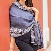 Silk shawl, 'Midnight Muse in Slate' - Hand Woven Slate Geometric Silk Shawl from India