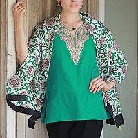 Silk shawl, 'Floral Vines in Emerald' - Hand Woven Emerald Silk Shawl Floral Motifs from India