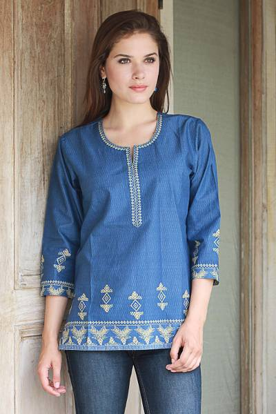 Cotton tunic, 'Blue Geometric Brilliance' - Steel Blue Cotton Tunic with Traditional Wheat Motif