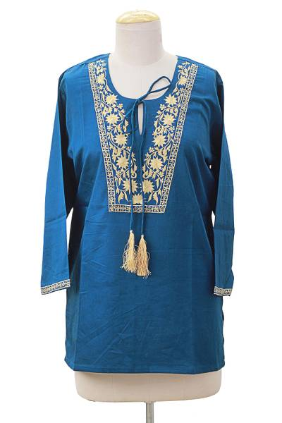 Cotton tunic, 'Celestial Gardens' - Teal and Beige Embroidered Flower 100 % Cotton Tunic