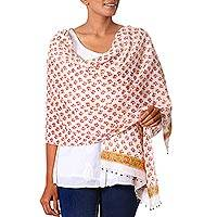 Cotton shawl, 'Sunset Bouquet' - Floral Cotton Shawl Indian Block Printed Embellished Wrap