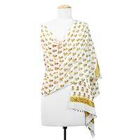 Cotton shawl, 'Gold Flowers' - Cotton Shawl with Yellow Floral Motifs from India