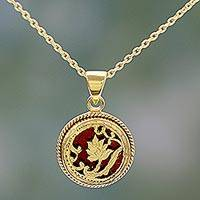 Gold plated pendant necklace, 'Leafy Circle' - Hand Made Gold over Silver Red Pendant Necklace India
