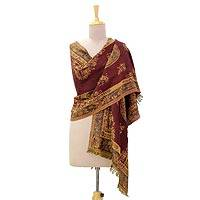 Silk and wool blend shawl, 'Majestic Claret' - Silk Wool Blend Jacquard Shawl in Claret and Camel India