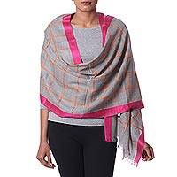 Wool shawl, 'Smoke Sophistication' - Wool Patterned Shawl in Smoke and Deep Rose from India
