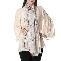 Wool shawl, 'Off-White Sophistication' - Wool Patterned Shawl in Off-White from India
