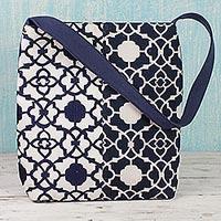 Cotton shoulder bag, 'Midnight Blue Elegance' - 100% Cotton Embroidered Shoulder Handbag from India