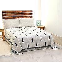 Cotton bedspread and pillow covers, 'Majestic Trees' (twin) - 100% Cotton Bedspread and Pillow Covers (Twin) India