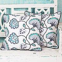 Cotton cushion covers, 'Dusk Flowers' (pair) - Floral Midnight Blue Cotton Cushion Covers (Pair) from India