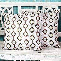 Cotton cushion covers, 'Exotic Hives in Stone' (pair) - Stone Brown Cotton Cushion Covers (Pair) from India