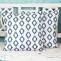 Cotton cushion covers, 'Exotic Hives in Cerulean' (pair) - Cerulean Blue Cotton Cushion Covers (Pair) from India