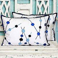 Cotton cushion covers, 'Bubble Delight' (pair) - 100% Cotton Embroidered Cushion Cover Pair from India