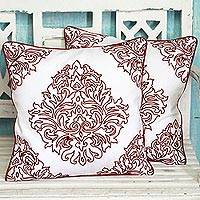 Cotton cushion covers, 'Abstract Beauty' (pair) - Two 100% Cotton Embroidered Cushion Covers from India