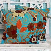Cotton cushion covers, 'Floral Grandeur' (pair) - Pair of Turquoise Cushions Covers with Floral Embroidery