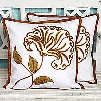 Cotton cushion covers, 'Majestic Flower' (pair) - Pair of Cotton Cushion Covers with Stunning Floral Motifs