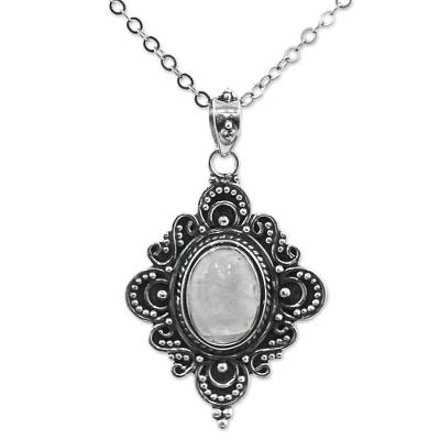 Rainbow Moonstone Sterling Silver Pendant Necklace India