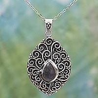 Labradorite pendant necklace, 'Delightful Tendrils' - Labradorite Sterling Silver Pendant Necklace India