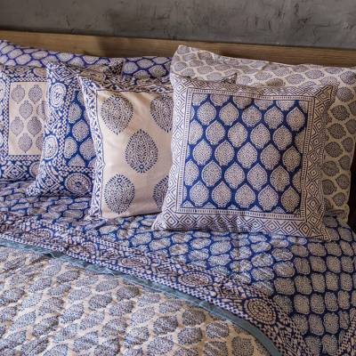 Block printed cotton quilt and pillowcase set, 'Iris Beauty' - Cotton Quilt and Pillowcase Set with Floral Motifs
