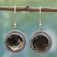 Smoky quartz dangle earrings, 'Smoky Brilliance' - Handmade Smoky Quartz Sterling Silver Dangle Earrings