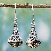 Sterling silver dangle earrings, 'Classic Chic' - Rawa Sterling Silver Handcrafted Dangle Earrings