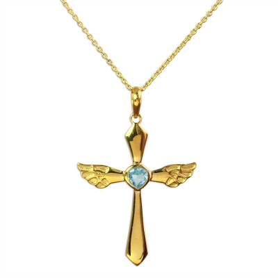 Blue Topaz 18k Gold Plated Sterling Silver Cross Necklace
