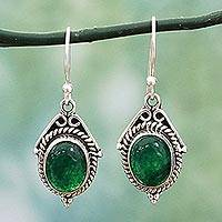 Onyx dangle earrings, Charming Green