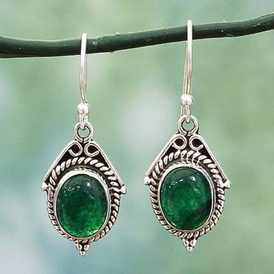 Onyx dangle earrings, 'Charming Green' - Hand Made Sterling Silver Green Onyx Dangle Earrings India